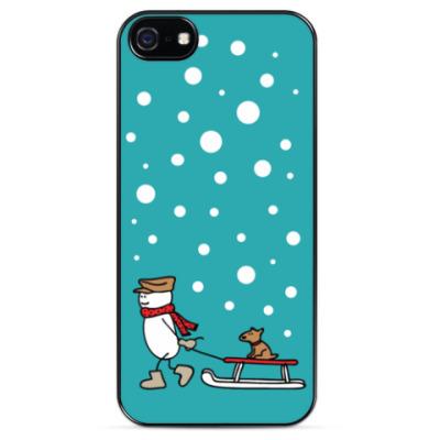 Чехол для iPhone Снеговик и Собака в Новый год