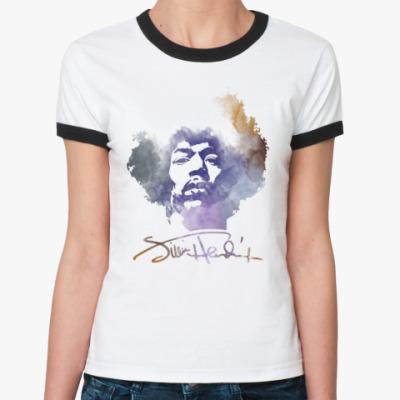 Женская футболка Ringer-T  Jimi Hendrix - Джими Хендрикс