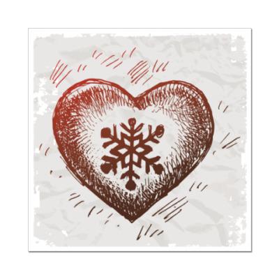 Наклейка (стикер) Зимнее сердце