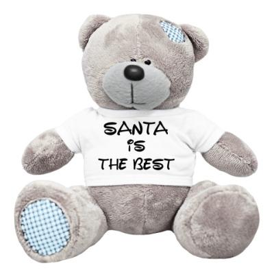 Плюшевый мишка Тедди Надпись Santa is the best