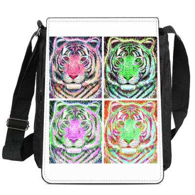 Сумка-планшет тигр в стиле поп-арт