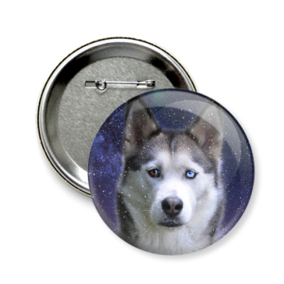 Значок 58мм Снежный пес