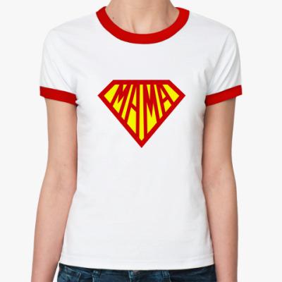 Женская футболка Ringer-T СУПЕР МАМА