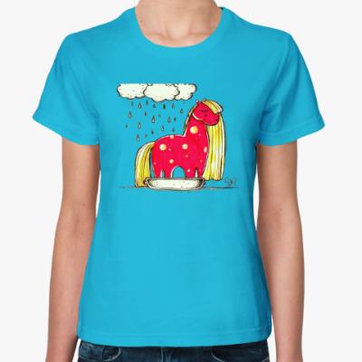 Женская футболка Купание красной коняшки