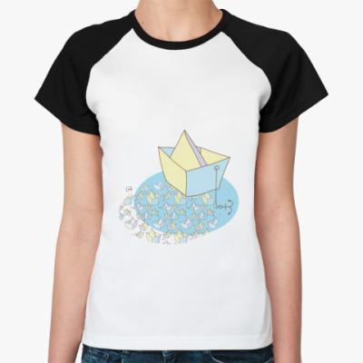 Женская футболка реглан  'Кораблик'