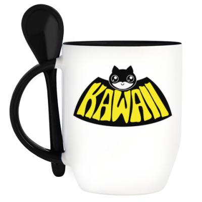 Кружка с ложкой Kawaii Batman