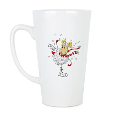 Чашка Латте Овечка на коньках