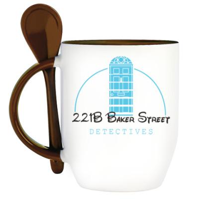 Кружка с ложкой 221 Baker Street