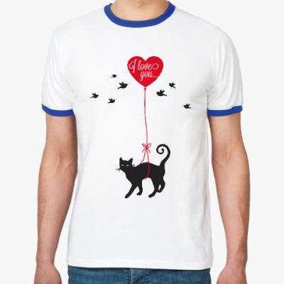 Футболка Ringer-T Кот и сердце