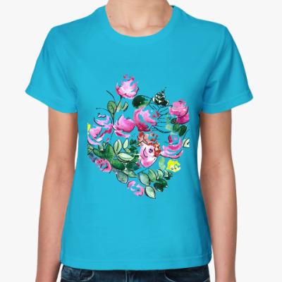 Женская футболка Акварельные цветы
