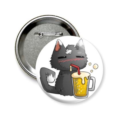 Значок 58мм Пьющий кот