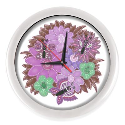 Настенные часы Цветы и бабочки
