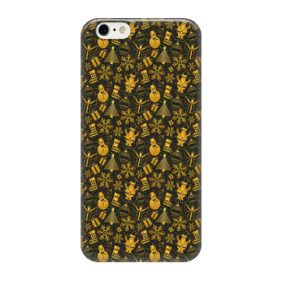 Чехол для iPhone 6/6s Золотые снеговики