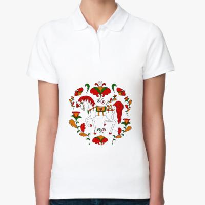 Женская рубашка поло  Russian folk ornament