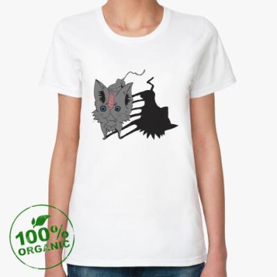 Женская футболка из органик-хлопка  Кот серый