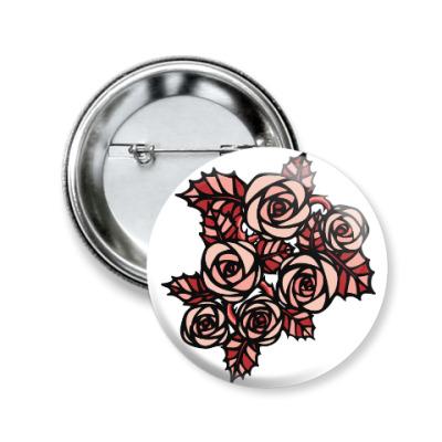 Значок 50мм Тату Розы