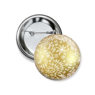 Значок 37мм Елочный шар