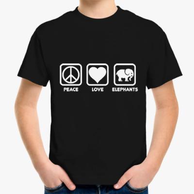 Детская футболка Мир Любовь Слоник