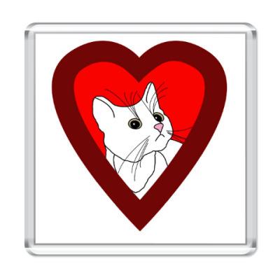 Магнит 'Кошка в сердечке'