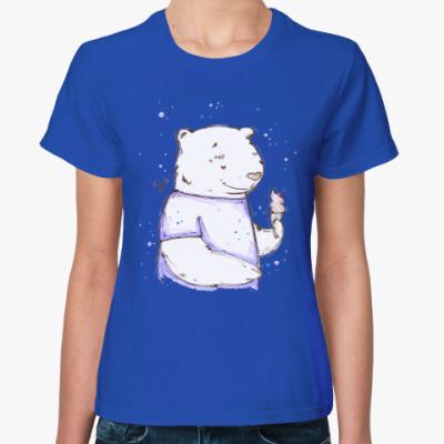 Женская футболка Медведь с мороженым