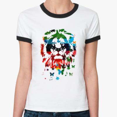 Женская футболка Ringer-T Лев и... бабочки