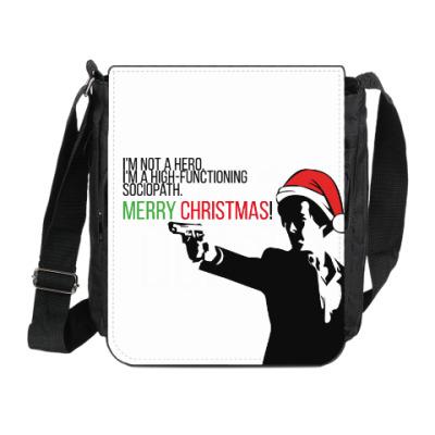 Сумка на плечо (мини-планшет) Merry christmas from Sherlock