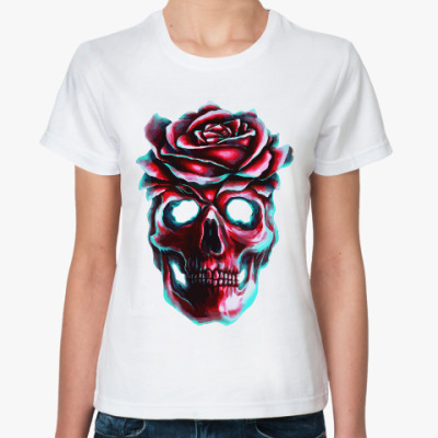 Классическая футболка Череп и роза