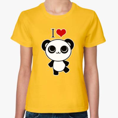 Женская футболка Я люблю панд