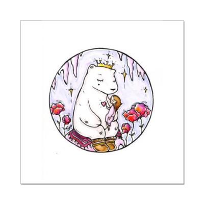 Наклейка (стикер) Полярный медведь и девочка