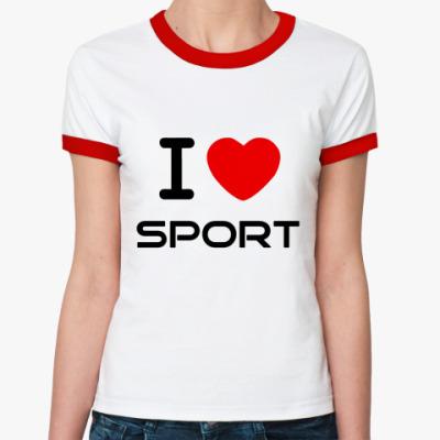 Женская футболка Ringer-T я люблю спорт