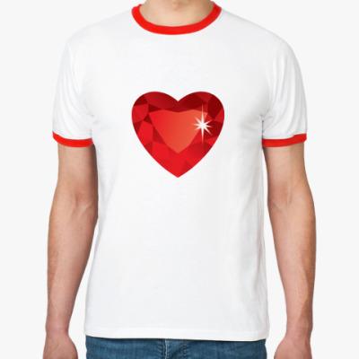 Футболка Ringer-T Сердце-Бриллиант