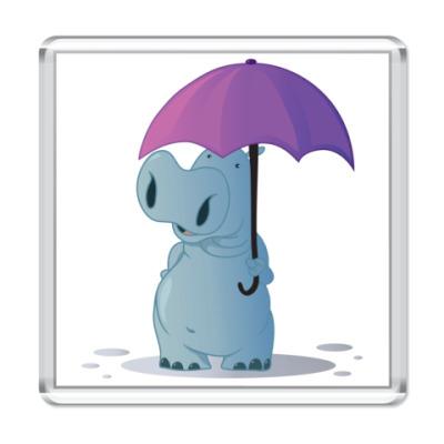 Магнит бегемотик с зонтом