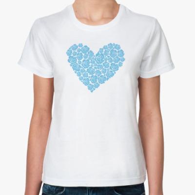 Классическая футболка 'Сердце из роз'