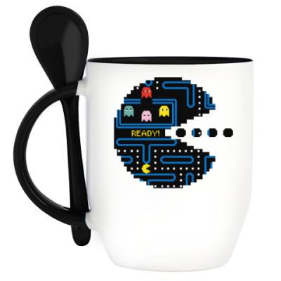 Кружка с ложкой Pac-Man. PacMan. ПакМан. ПакМен. Pixels. Ready!
