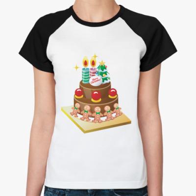 Женская футболка реглан Рождественский торт