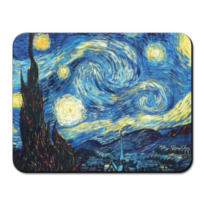 Коврик для мыши Звездная ночь, Ван Гог.