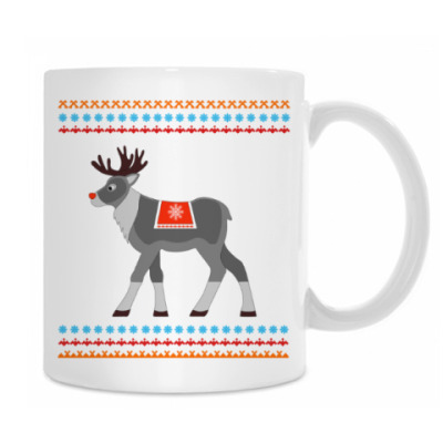 Reindeer and Nordic pattern ornament