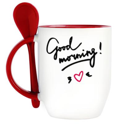 Кружка с ложкой Good morning/Доброе утро