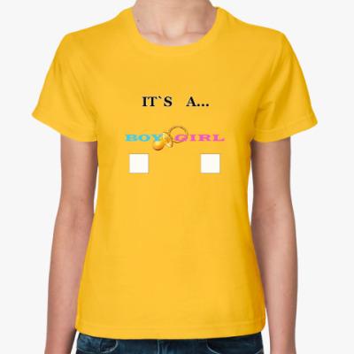 Женская футболка Gender reveal party, baby, boy