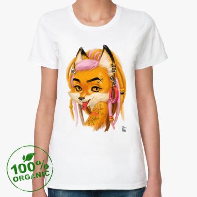Женская футболка из органик-хлопка Неформальная лиса с пирсингом дредами и тату