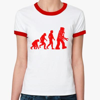 Женская футболка Ringer-T  'Robot Evolution'