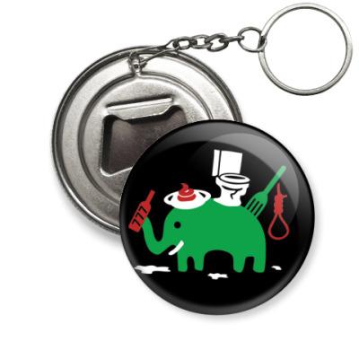 Брелок-открывашка - Зеленый Слоник