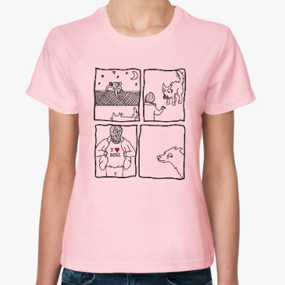 Женская футболка I love dog