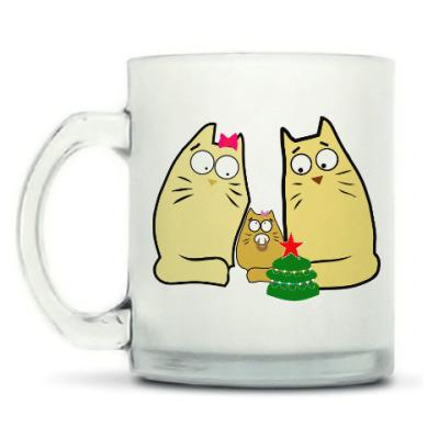 Кружка матовая Кошачья семья