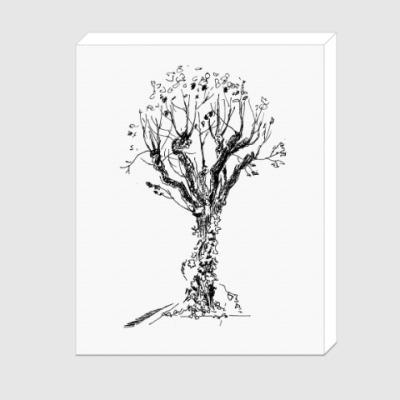 Холст Дерево с вьюнком