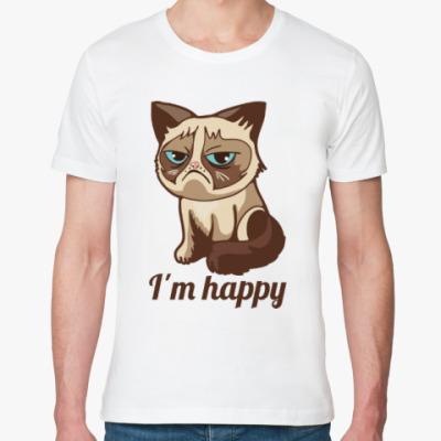 Футболка из органик-хлопка Угрюмый кот Тард - Grumpy Cat