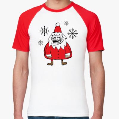 Футболка реглан Trollface Santa