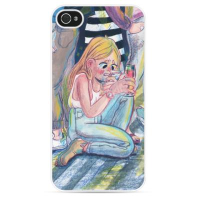 Чехол для iPhone девочка с бокалом