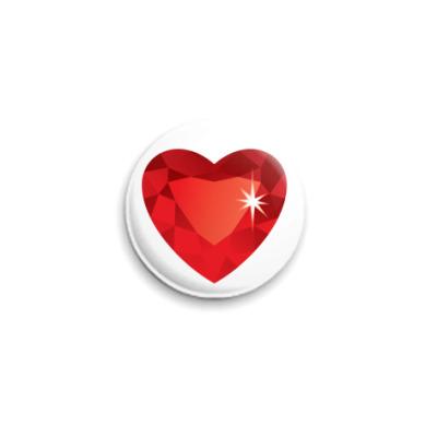 Значок 25мм Сердце-Бриллиант