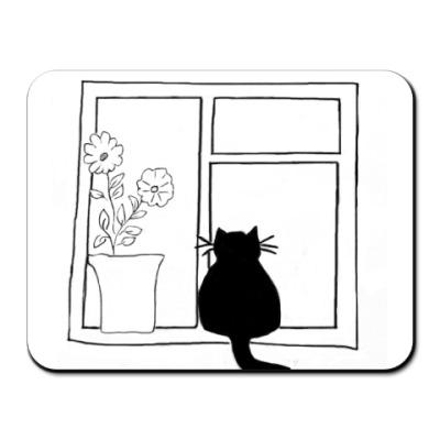 Коврик для мыши кот в окне